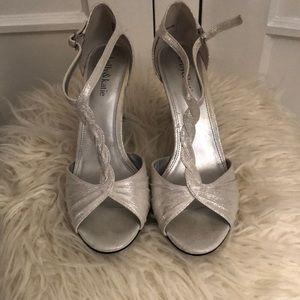 Kelly & Katie t-strap silvery white bridal heels